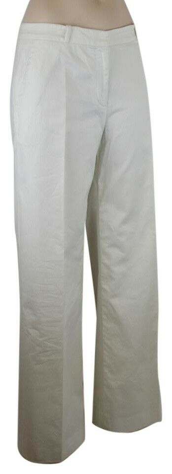 OSCAR DE LA RENTA Weiß COTTON & LYCRA PANTS WIDE LEG W. SILK LINING, SZ 6,  950