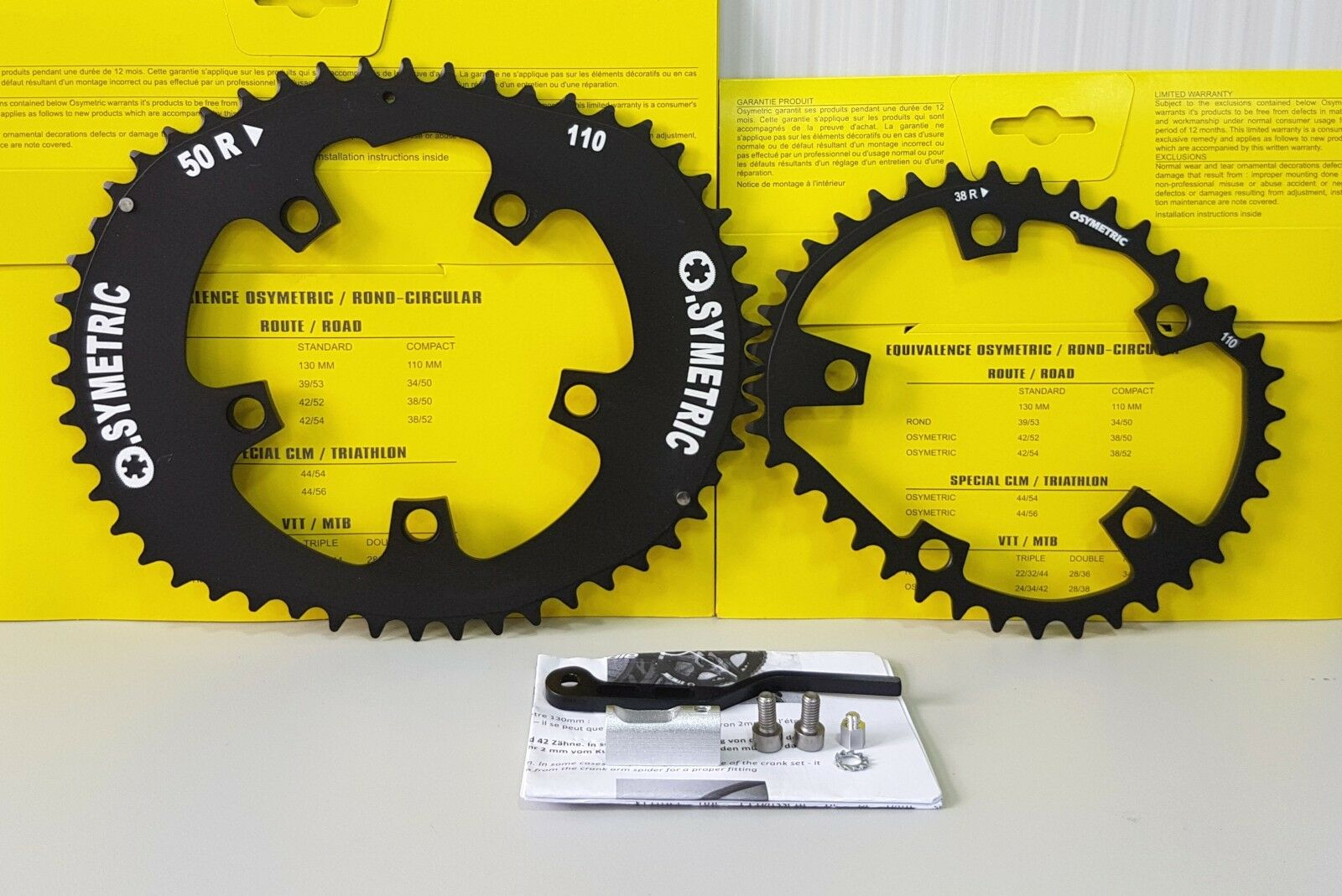 Osymetric BCD 110x5 52T+38T     50T+38T Bicycle Chainring Set (Fits Shimano, SRAM) 6a0f99