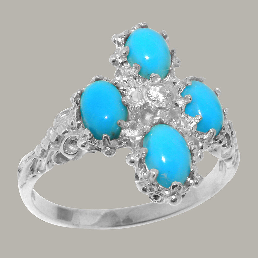14ct White gold Natural Diamond & Turquoise Womens Cluster Ring - Sizes J to Z