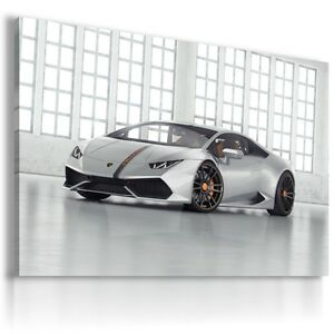 LAMBORGHINI HURACAN SILVER  Car Large Wall Art Canvas Picture  AU94 MATAGA
