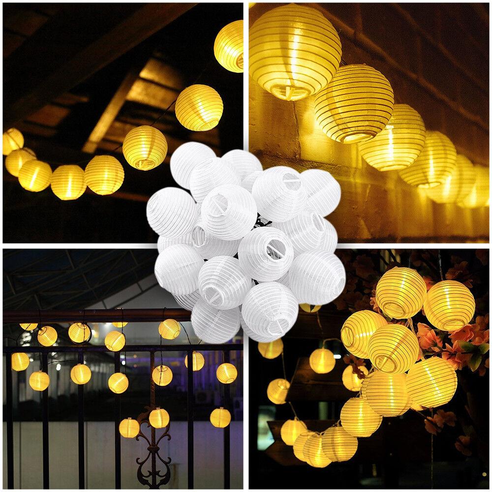 30er led solar rattan lampion lichterkette wei au en garten deko beleuchtung ebay. Black Bedroom Furniture Sets. Home Design Ideas