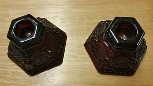 VINTAGE-RED-GLASS-2-Piece-candle-stick-holders-AVON-CAPE-COD-1876