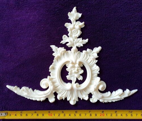 LARGE FRENCH ANTIQUE LOUIS XV WHITE RESIN WALL MIRROR MOULDING DECORATION