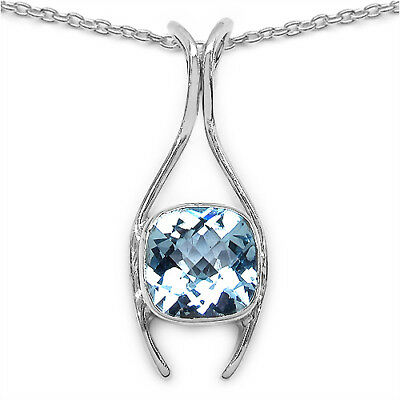 0.61ct Blue Topaz Diamond .925 Sterling Silver Handmade Pendant Fashion Jewelry