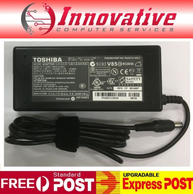 Toshiba AC Adapter 90W Model No. PA2521U-2AC3 15.0V 6.0A 6.3*3.0