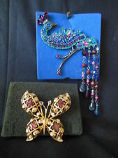 2 Pc Avon Brooch Lot 1992 Beautiful Butterfly & 2004 JewelTone Peacock Pin
