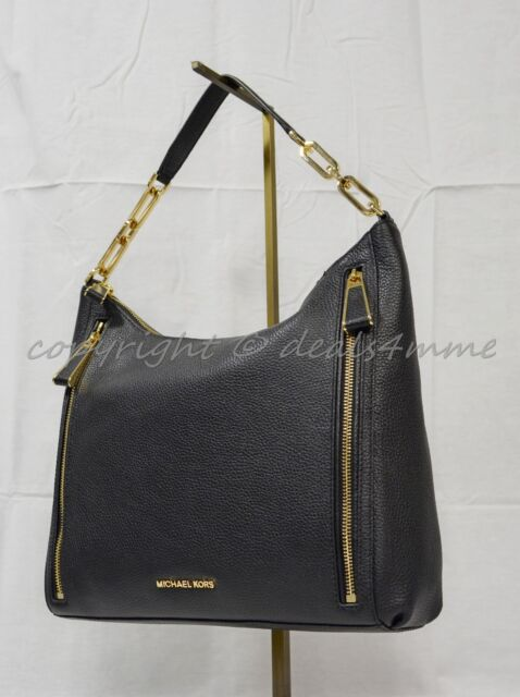 8cd74294b33a Michael Kors Matilda Large Pebbled Leather Shoulder Bag Black gold ...