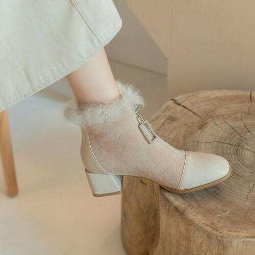Details about  /Womens Fashion Winter Round Toe Zipper Fur Trim Ankle Boots Block Mid Heels Size