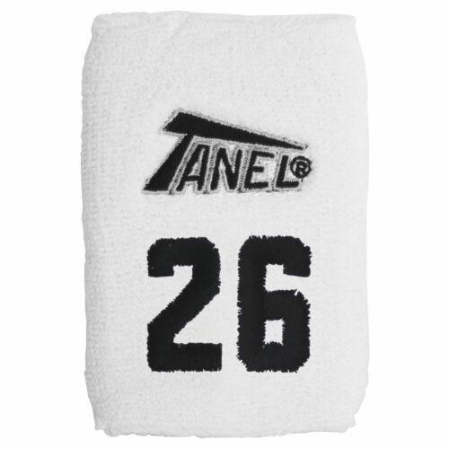 #26 Tanel 360 Custom Baseball//Softball Wristbands White