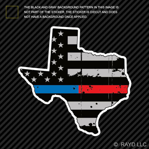 Distressed Thin Blue Red Line Texas State Shaped Subdued US Flag Sticker TX