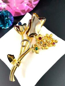 LOVELY-VINTAGE-GOLDTONE-MULTICOLOR-RHINESTONE-TULIP-FLOWER-BOUQUET-BROOCH-PIN