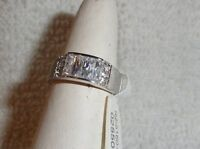 925 Sterling Silver Created White Topaz Channel Set Ring Sizes 9 7