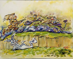 CHUCK JONES Great Chase Bugs Bunny Warner Bros Canvas Giclee Ltd Ed of 400 med
