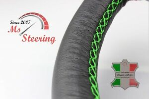 FOR LEXUS GX 11-13 BLACK LEATHER STEERING WHEEL COVER GREEN STIT