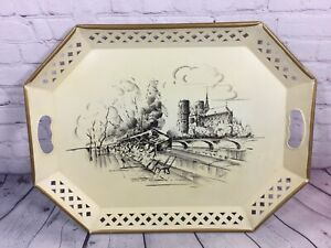 "Vintage Nashco Tray Hand Painted Notre Dame Paris Metal Toleware - 20"" x 15"""