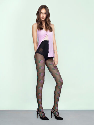 Fiore Pink Punk Sheer to Waist Tights 20 Denier With Large Floral Pattern