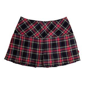 Tripp NYC 80s Gothic Punk Black Red Tartan Plaid School Girl Mini Skirt Size L