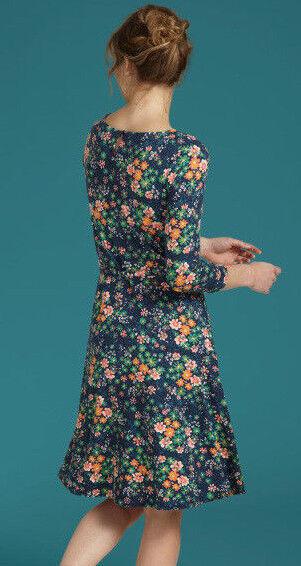 King Louie Robe avec Ceinture Emmy Florali blue Sombre Fleurs Fleurs Fleurs Foncé 03254 78b65e