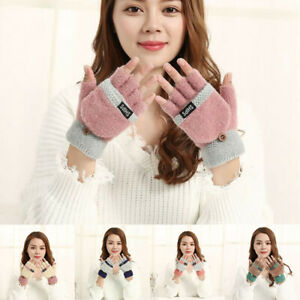 Gloves-Womens-Knitted-Mittens-Ladies-Winter-Half-Capped-Warm-Fingerless-2-in-1