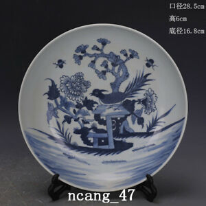 """11.2"""" Chinese Antique Porcelain qing dynasty Blue white peony flower bird Plate"""