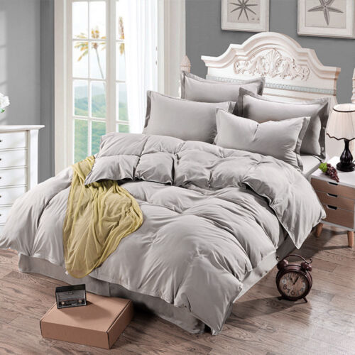 100/% Cotton Bed Single Double Queen King Size Solid Color Comforter Quilt Cover
