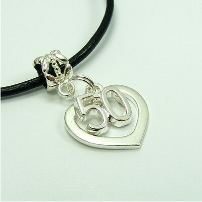 Silver Plated NUMBER Smooth HEART Birthday Dangle CHARM Genuine Leather NECKLACE