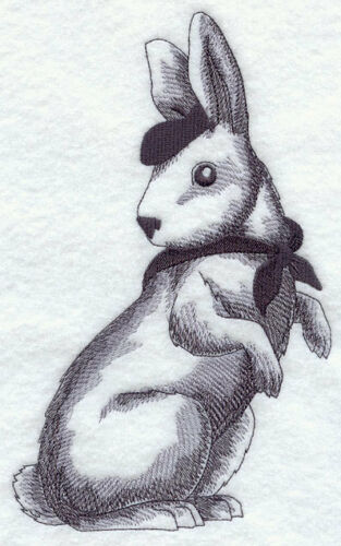 FRENCH RABBIT SET OF 2 BATH HAND TOWELS EMBROIDERED BY LAURA