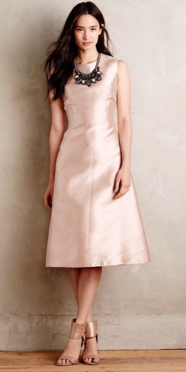 NWT  430 Anthropologie TY-LR Odessia Pink Silk Dress Size Medium