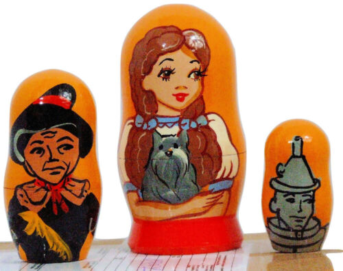 5pcs Hand Painted Russian Nesting Doll of The Wizard of Oz 4 inches tall