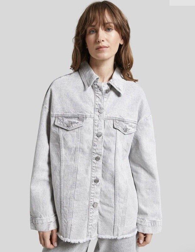 New Concept Club Pale Grey Acid Wash Denim Oversized Shacket Size XS