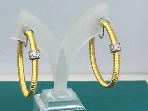 """Sterling Silver Gold Vermeil Oversized XL Runway Hoop Earrings 5/"""" QX"""