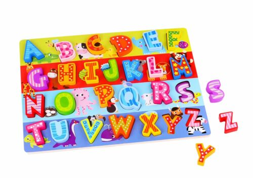 Tooky Wooden Alphabet Puzzle Zoo Animal Pattern Educational Toy Gift