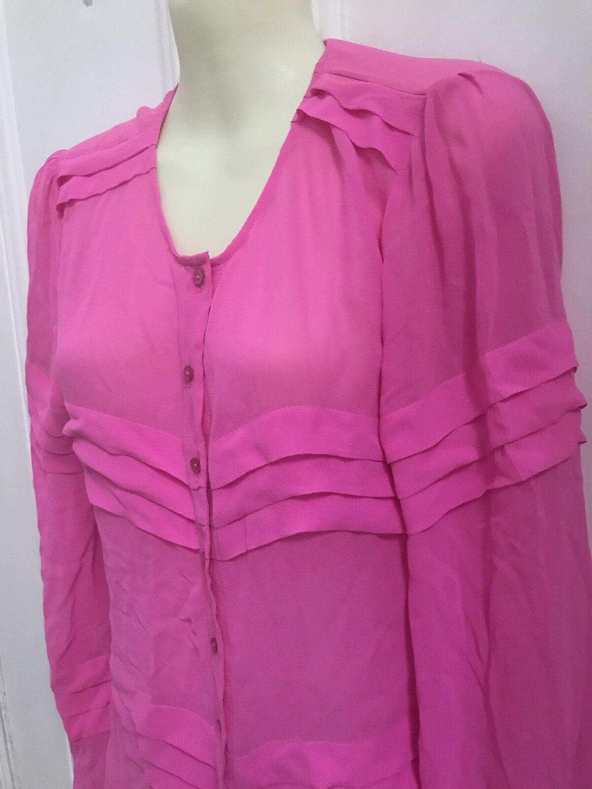 Tigerlily Shirt Hot Rosa Fuchsia Blouse Größe AU 10 Pure Silk