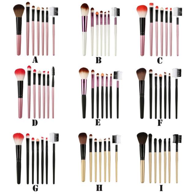 7 Pcs Wood Makeup Brush EyeShadow Brush Cosmetics Blending Brush Tool 9 Color