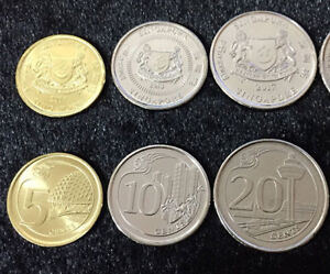 10 20 1 DOLLAR BIMETALLIC 2013 UNC SINGAPORE 5 COINS SET 5 50 CENTS