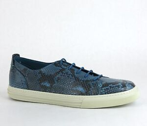 59aa65760 $960 New Authentic Gucci Mens Python Lace-up Sneaker Blue 342038 ...
