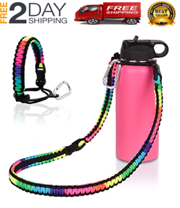 Paracord Handle Carrier Holder With Shoulder Strap Fit 12Oz - 64Oz Hydro Flask