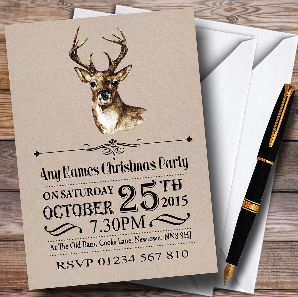 Ciervo Rústico Navidad Fiesta De Navidad Personalizado Invitaciones