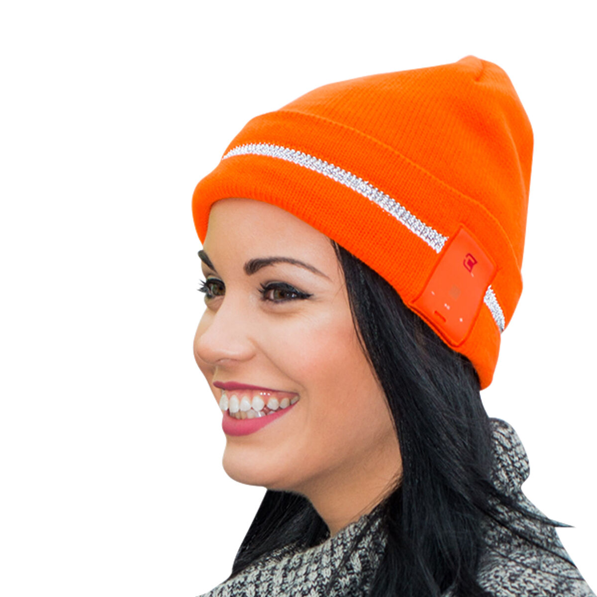 Soft warm Dual layer high visibility reflective safety blueetooth Winter Beanie