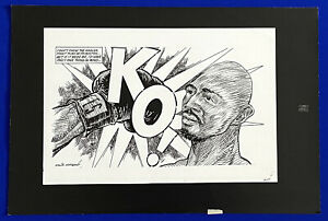 1980-Marvin-Hagler-Alan-Minter-KO-Boxing-16x24-Original-Cartoon-Art-by-Germano