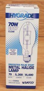 Hygrade Satco ED17 (S5856) Clear 70W Medium Base Metal Halide Lamp Bulb *MP70*