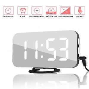 Reveil-Multifonction-Numerique-LED-Miroir-Horloge-Temperature-Calendrier-FR