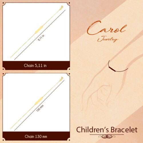 18k Solid Gold New Born Babies Ring Clasp Bracelet for Personalized Engraving