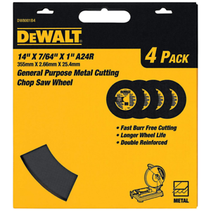 Purpose Chop Saw Wheel Blades Tools 14-Inch by 7//64-Inch by 1-Inch 4-Pack