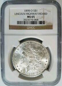 1898-O-Silver-Morgan-Dollar-NGC-MS-65-Lincoln-Highway-Hoard-Pedigree-Collection