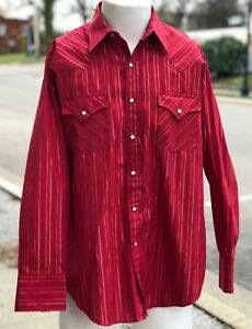 Vintage-Ely-Cattleman-Pearl-Snap-Red-Gold-Stripe-Western-Cowboy-Rodeo-Shirt-SZ-L