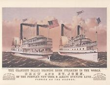 "CURRIER & IVES ""DREW & ST. JOHN"" Vintage Ship Print, The Grandest Palace Drawing"