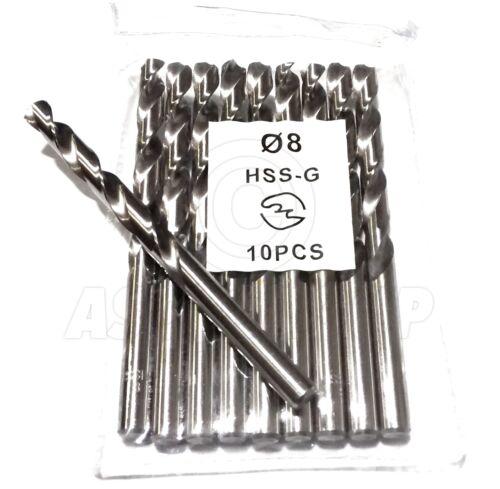 10 x 8mm Professional Drill Bits HSS-G Ground Bright Metal Plastic Wood