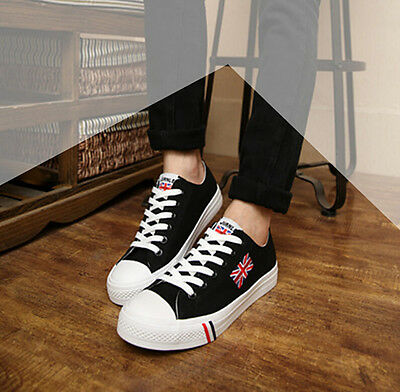 Mens Union Jack Lace up canvas sneakers sport men casual skateboard shoes