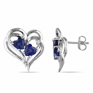 Amour-Sterling-Silver-Created-Blue-Sapphire-and-Diamond-Heart-Earrings
